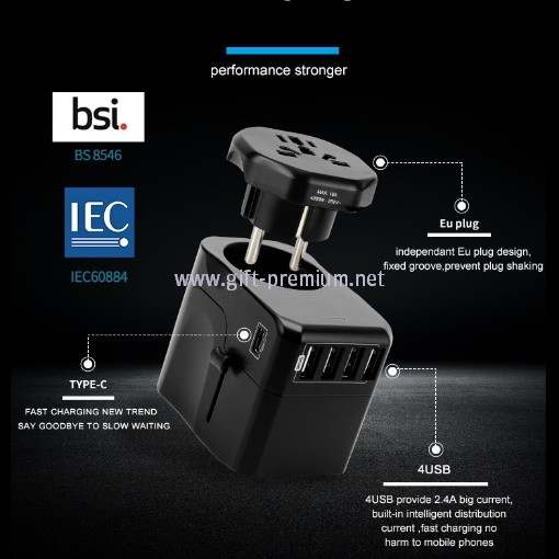 1 Type C + 4 USB Travel Adapter